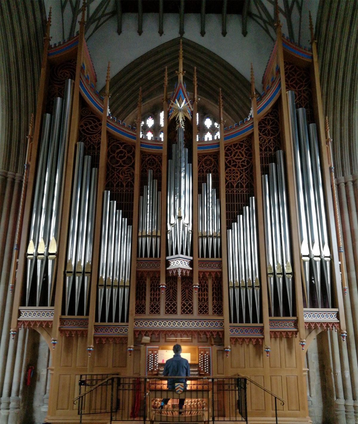 Alistair Warwick playing the Dobson Organ in Merton College Chapel, Oxford