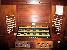 Organ console at Holy Trinity Church, Stirling